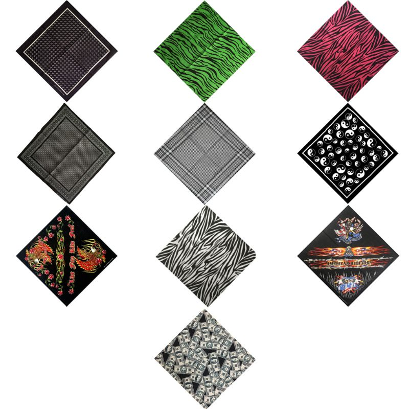 10 Styles Unisex Multifunction Cycling Square Bandana Cotton Hair Scarf Handkerchief Geometric Sports Hip-Hop Wristband Headwrap(China)