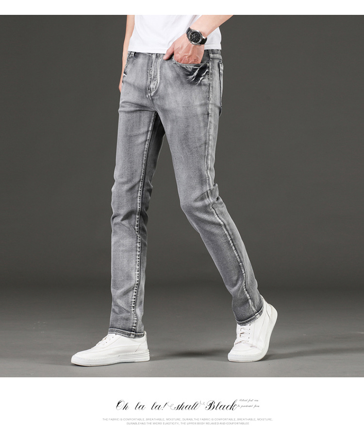 KSTUN Jeans Men Gray Stretch Slim Fit Vintage Spring and Autumn High Quality Yong Boys Denim Pants Men's Clothing 2019 Trendy 13