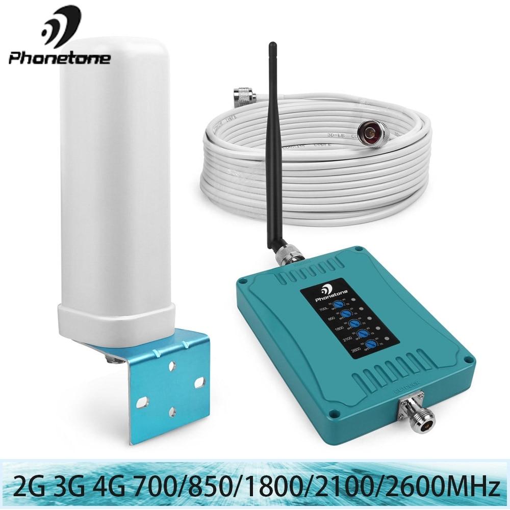 Amplificateur de signal 4g GSM 2G 3G 850/700/1800/2100/2600 MHz répéteur cellulaire 70dB avec Kit d'antenne Omni