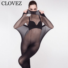 CLOVEZ 2017 Hot Sexy Thin Plus Size Tights Women Super Elastic Stockings Black Seamless Ladies Pantyhose Girl Collant Femme
