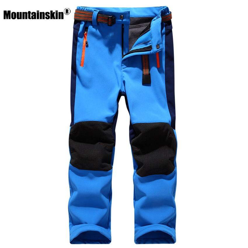 Mountainskin Kids' Winter Fleece Softshell Hiking Pants Youth Children Outdoor Waterproof Camping Trekking Skiing Thousers VC012