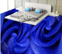 Waterproof floor mural painting  Blue Rose 3D sea living room floor 3D PVC floor wallpaper Home Decoration