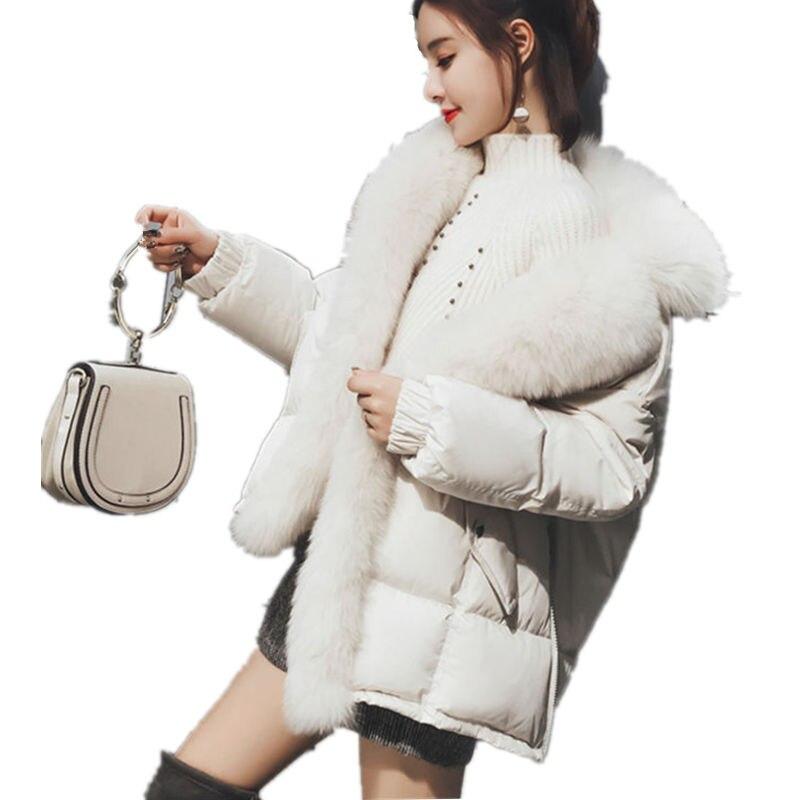 Femmes Bas Hiver Parkas De Q545 Parka Fourrure Col Casaco Manteau Courte White Feminino Occasionnel Automne Coton Veste Oversize Épais qEC4xwqz