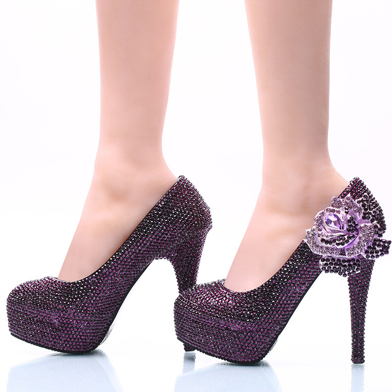 New Style Women Dress Shoes Purple Rhinestone with Rose Flower Bridal Wedding High Heel Shoes Cinderella Prom Pumps Plus Size
