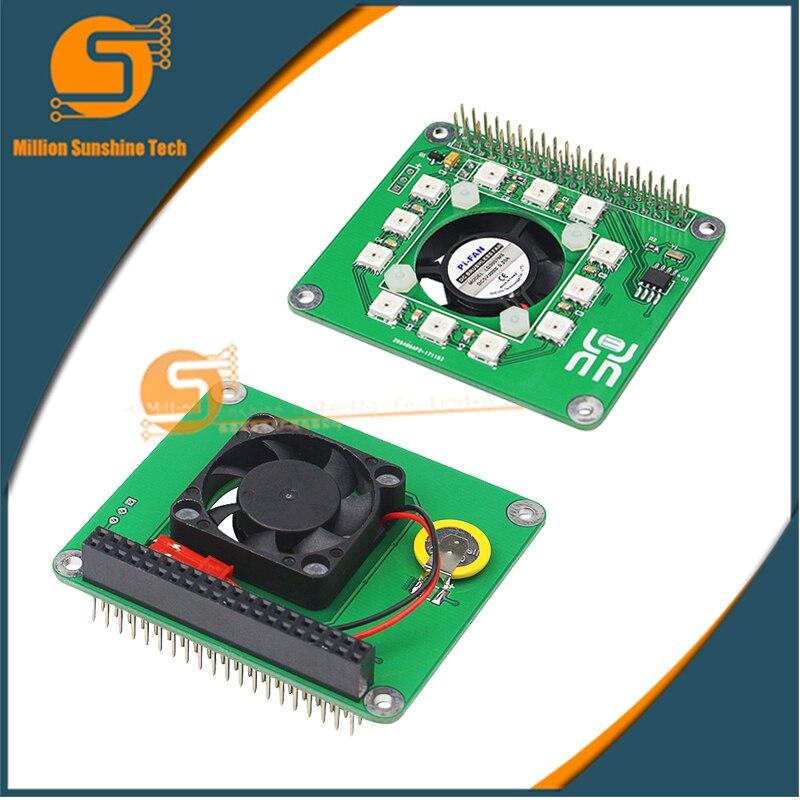 все цены на Raspberry Pi 3 Model B Cooling Fan Programmable Smart Temperature Control Fan Full LED DS1302 Real Time Clock Hat Board for RPI онлайн