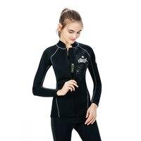 SLINX 2mm Neoprene Long Sleeve Men Women Scuba Diving Jacket Wetsuit Swimwear for Spearfishing Snorkeling Kite Surfing Windsurf
