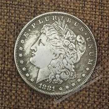 50piece/lot  1881 of the United States makes old copper and silver coins foreign silver coins antique coins the diameter is 38mm