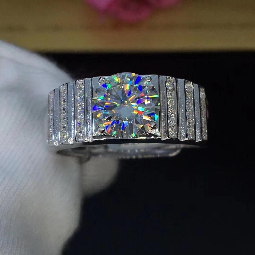 Bague Moissanite ronde en argent 2ct 8.00mm D VVS bague de mariage Moissanite de luxe pour hommes
