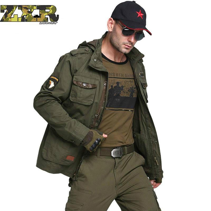 Zuoxiangru 力爆撃機軍の戦術的なジャケット男性冬秋戦闘マルチポケットコートパーカーウインドブレーカーミリタリージャケット  グループ上の メンズ服 からの ジャケット の中 1