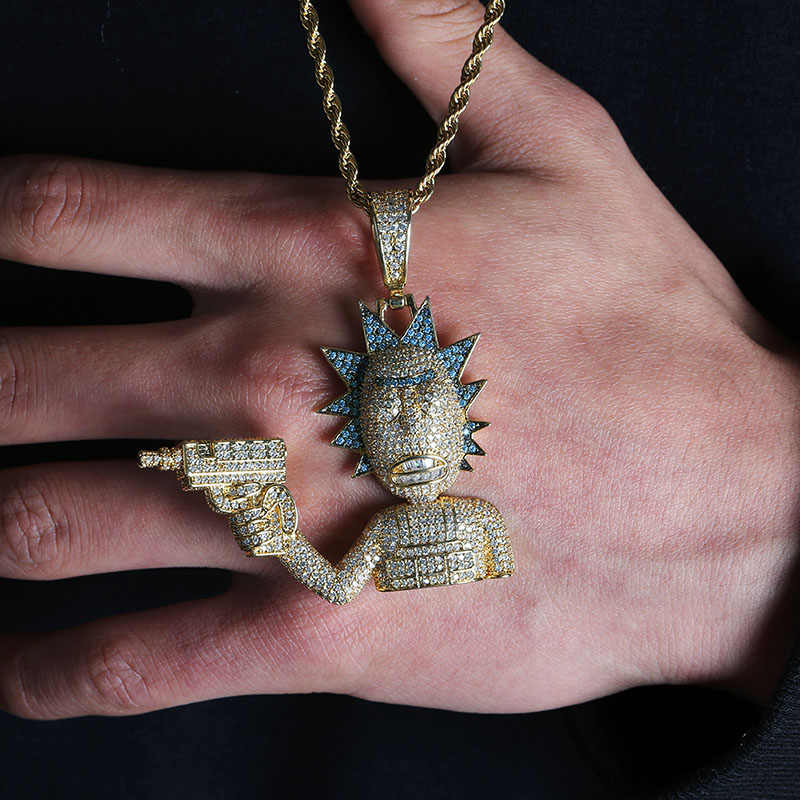 Iced Out Rick & Morty wisiorek naszyjnik mężczyźni złoty kolor srebrny łańcuch naszyjnik z tenis łańcuch spersonalizowane hip-hop amulet biżuteria