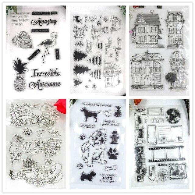 House Photo Deer Dog Stork Girl Clear Stamp Scrapbook DIY Cards Rubber Transparent Silicone