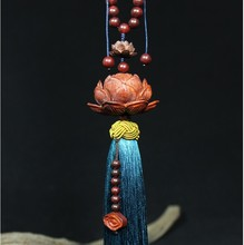 Car pendant car ornaments sandalwood lotus high-end rearview mirror peace symbol jewelry