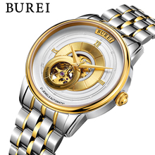 BUREI Men Mechanical Watches Rose Gold Silver Waterproof Military Sapphire Crystal Automatic Wrist Watch Saat Relogio Masculino
