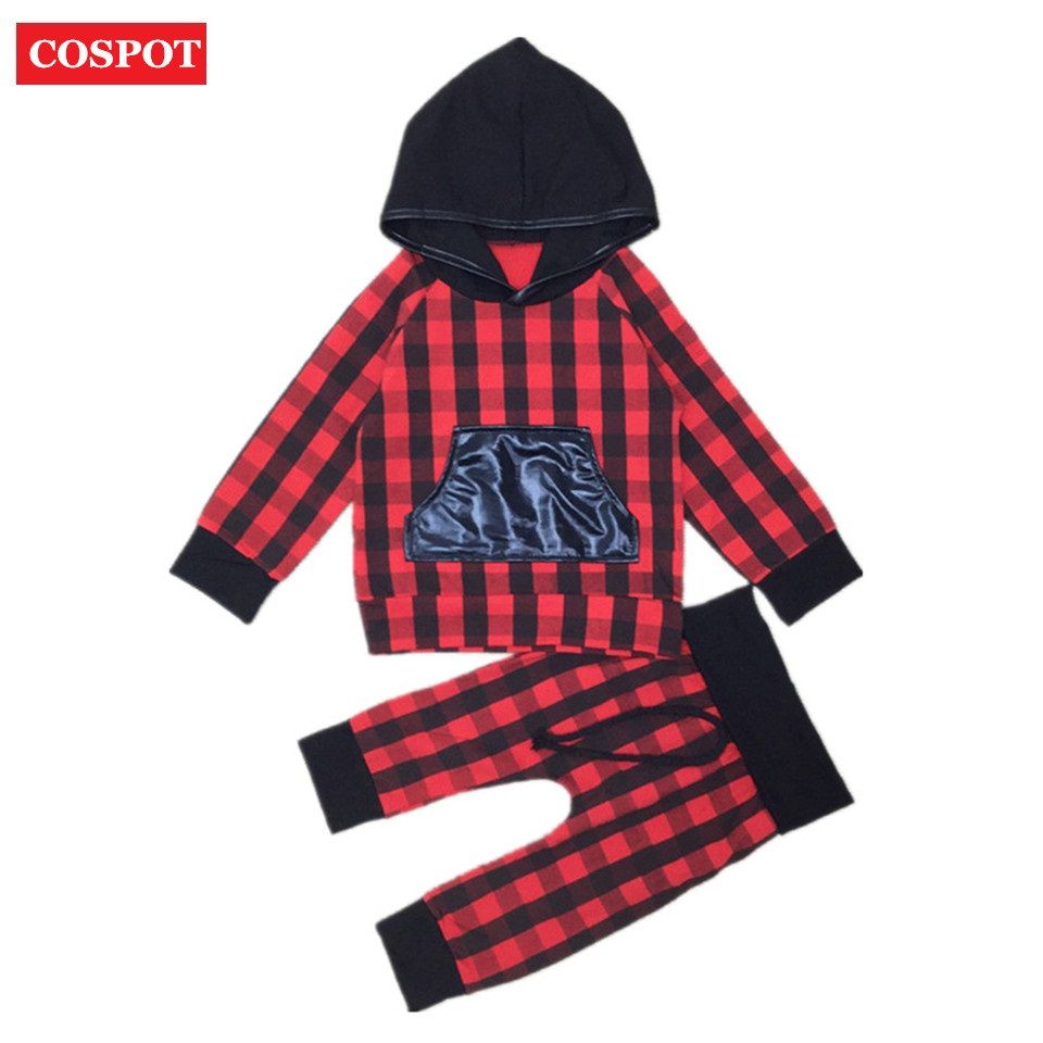 COSPOT Baby Boys Girls Christmas Clothing Set Kids Autumn 2Pcs Suit Hoodies+Pants Girl Red Plaid X'mas Suit 2017 New Arrival D42