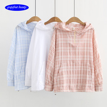 2019New England style Drawstring hooded jacket jaqueta casacos female ruffle blouse cool feel jacket factory Sunscreen outerwear drawstring front ruffle plaid blouse