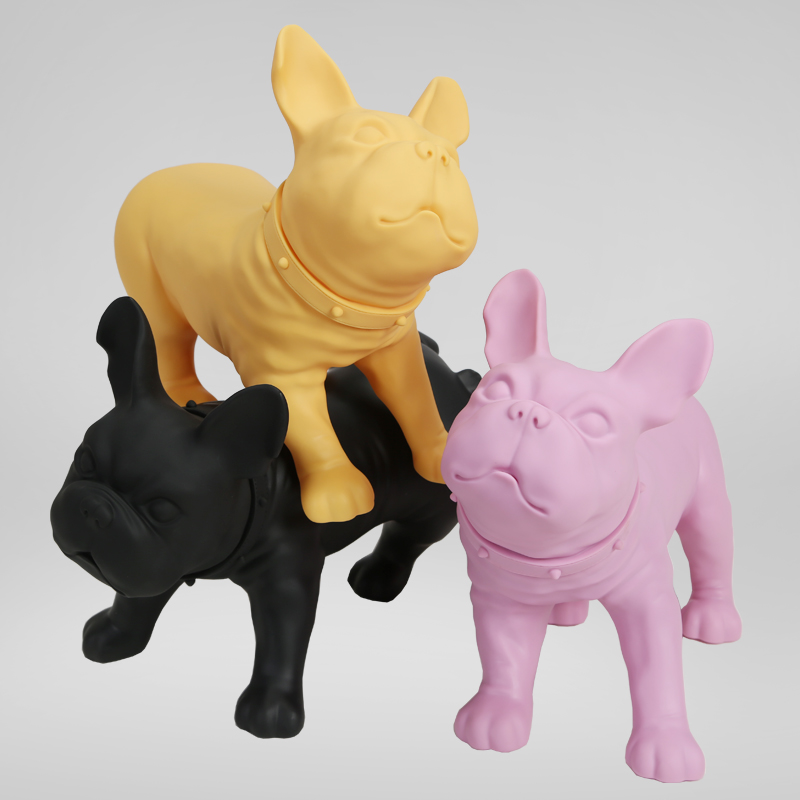 Plastic French Bulldog Dog Mannequin With Revolved Head For Display