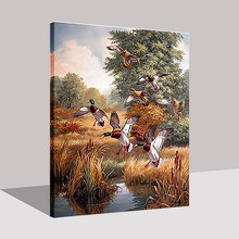 Pop By Numbers DIY Digital Oil Painting Mallard Ducks On Canvas Wall Art Modular Hunting Duck Scenery Pictures Home Decor Frame(China)