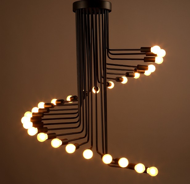 Vintage Spiral Chandelier Stage Lighting Fixture Ceiling