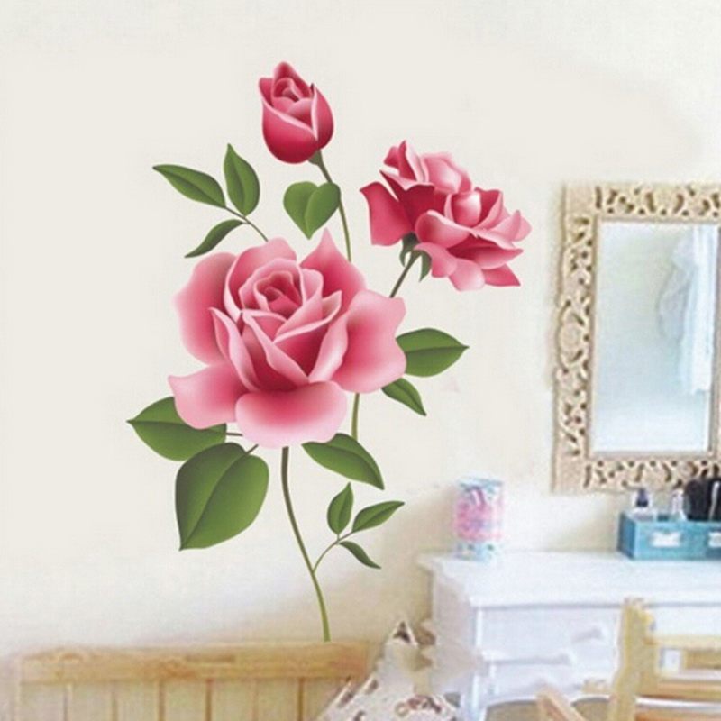 3d rose flowers wall sticker home decor diy adhesive art
