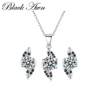 [BLACK AWN] 925 Sterling Silver Fine Jewelry Sets Trendy Engagement Wedding Necklace+Earring for Women PT141