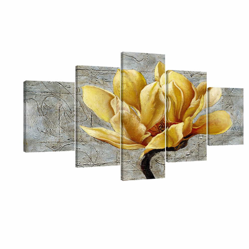 Yellow and Grey Flower Wall Art Abstract Oil Print on Canvas Home ...