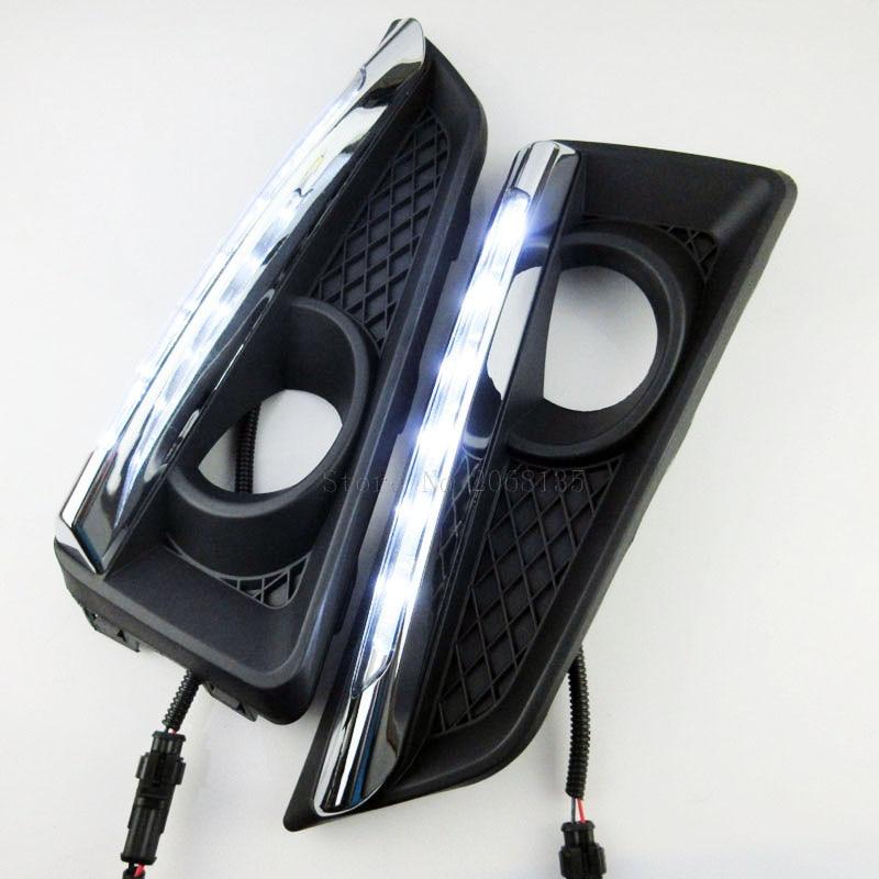 2шт высокое качество путеводной звезды СИД DRL для Honda Сити 2015 2016 дневного света туман Лампа крышка автомобиль для укладки аксессуары