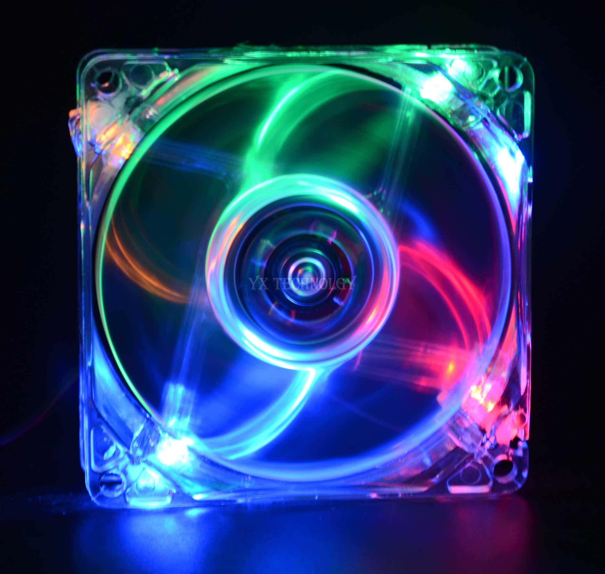 SZYTF 8025 GDT зеленый красный синий четыре цвета LED PC компьютерный корпус Бесщеточный вентилятор охлаждения 80 мм 8080x25 мм 8025S DC 12V 4Pin кулер