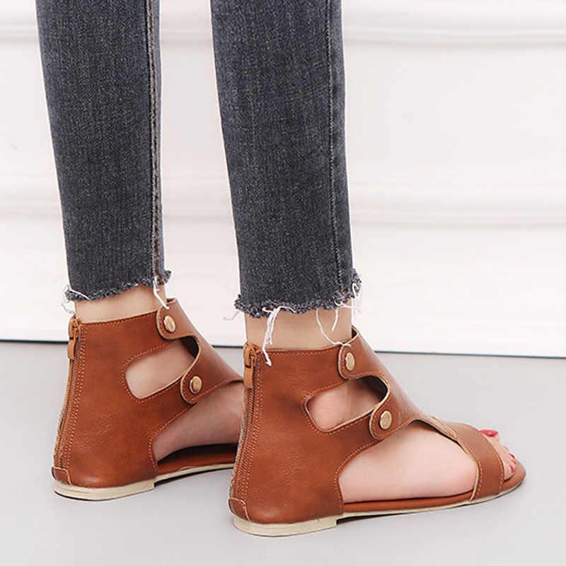 Phụ nữ Dép Mùa Hè Giày Phụ Nữ Thường Giày Da Nữ Zip Dép Phẳng 2019 Thời Trang Bãi Biển Giày Chaussures Femme 35- 43
