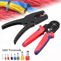Black 1200Pcs Terminal Kit Crimpong Tool Electric Wire Cutter Pliers Stripper Cable Cutting Crimper Plier Electrician Hand Tools