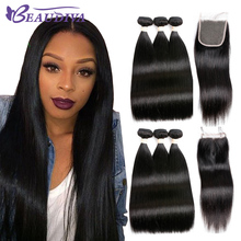 Beaudiva Brazilian Hair Weave 3 Bundles Brazilian Straight Hair With Lace Closure 100% Non Remy Human Hair Natural Color 8″-26″