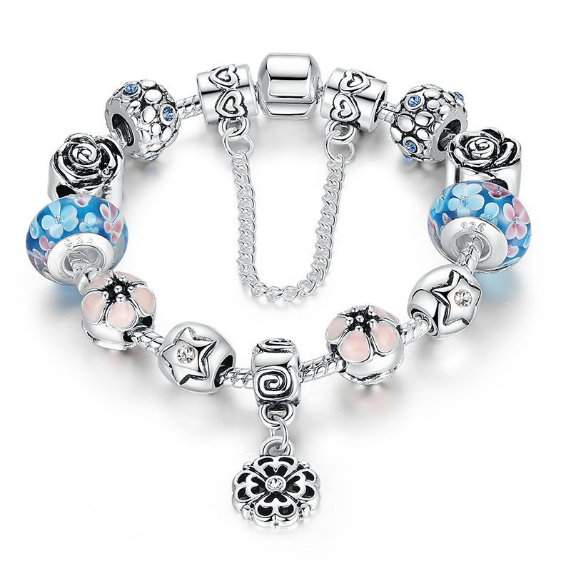 925 Sterling Silver Field Of Daisies Murano Glass European Style Charm Beads Bracelets For Women A1833