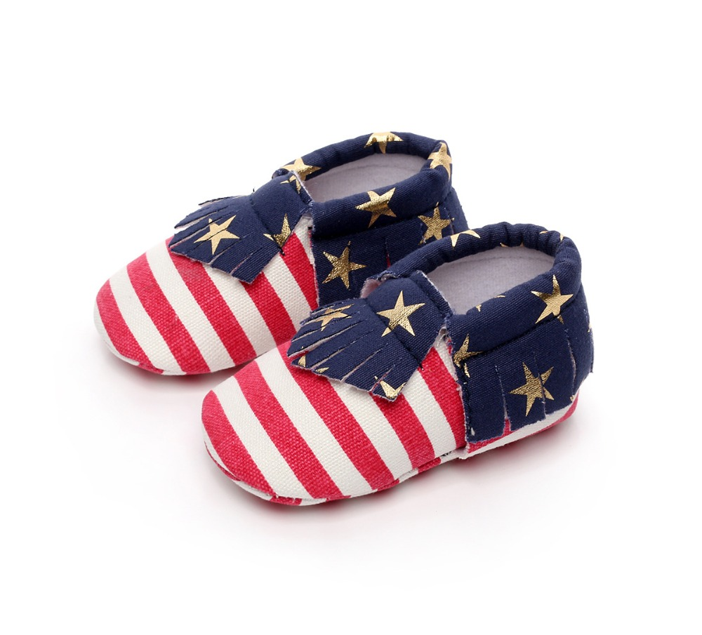 DHL/EMS Free shipping 2017 New Cartoon Cute Children American Flag Star Baby walker American flag baby soft soled shoes,