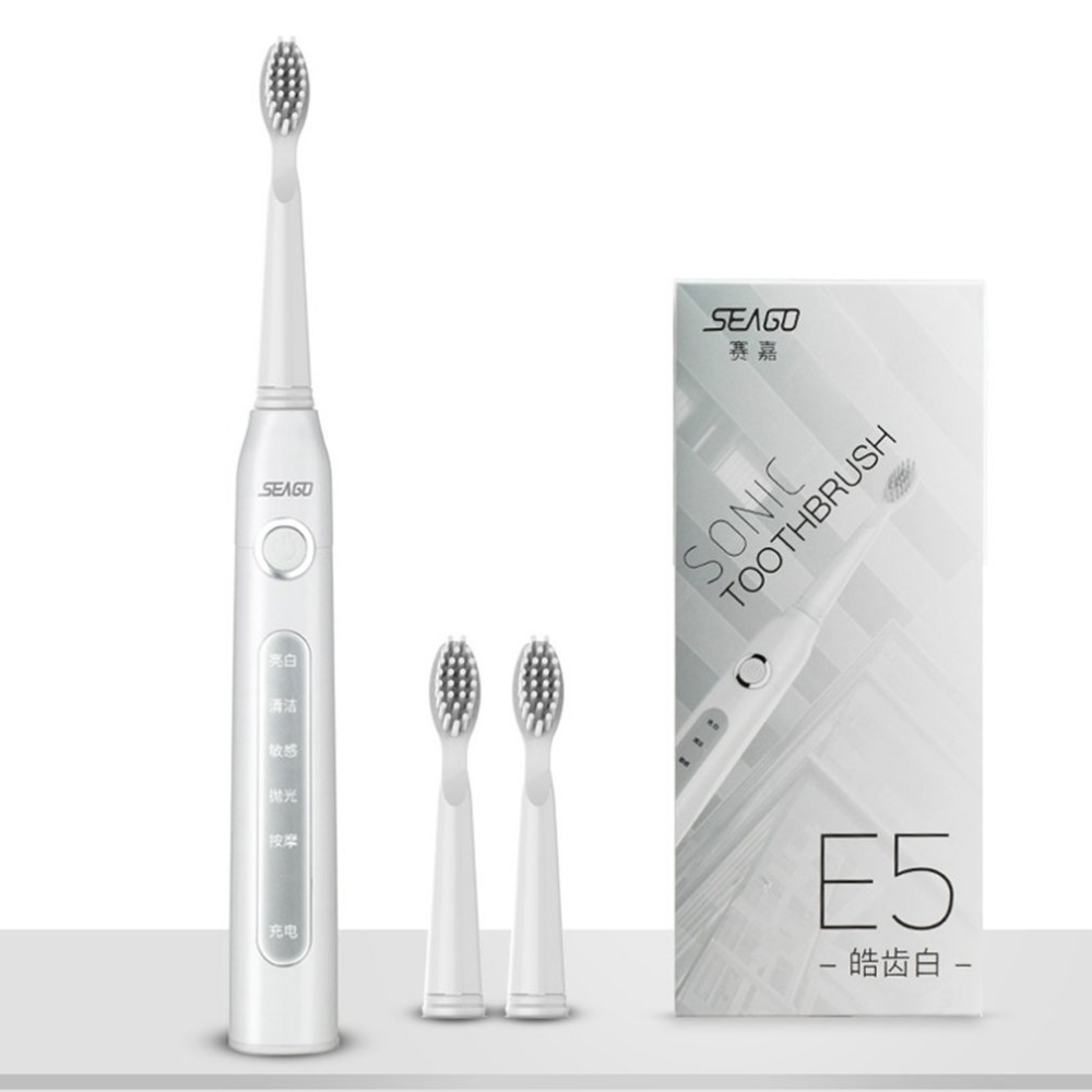 Seago SG-507 USB Rechargeable Sonic Electric Toothbrush Adult Waterproof Deep Clean Teeth Whitening Brush + 2 Replacement Heads seago sg 612 sonic electric toothbrush with 2 heads deep clean teeth whitening soft brush for adult oral hygiene dental care