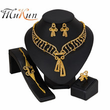 MUKUN 2019Exquisite Nigerian Wedding Fashion African Beads Jewelry Sets Crystal Dubai Gold Color Set Accessories