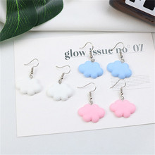 Korean Cute Cartoon Solid Sky Cloud Simple INS Woman Girls Dangle Drop Earrings Fashion Jewelry-LAF