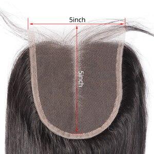 Image 3 - Rosabeauty Cierre de encaje recto virgen peruano 5X5 pelo humano Cierre de encaje nudos blanqueados medio/parte libre cierre superior
