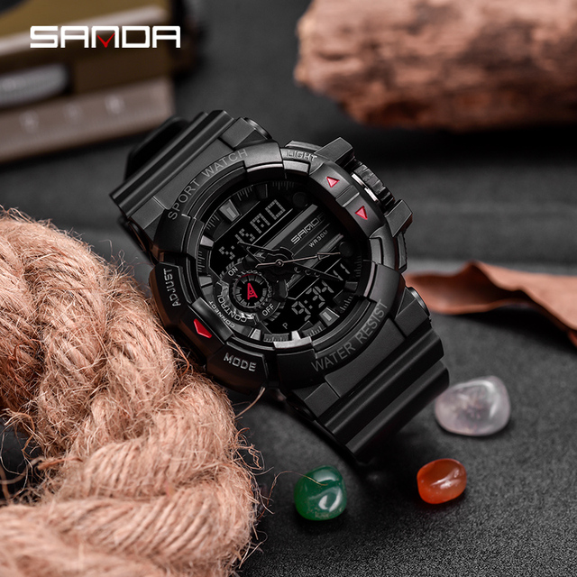 Sanda Sport Watches Analog Digital LED Backlight Men Sport Watch relogio masculino Military Army Waterproof Digital Watch
