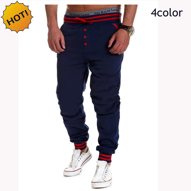 HOT 2016 spring Autumn Casual Elastic Drawstring Ankle Banded Stretch Pants Mens Hip Hop Traning Loose Mens Sweatpants