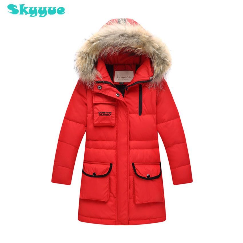 Girl down jacket with fur colloar 2018 new down jacket boy and girl duck down coats kids russia winter warm down jacket for girl