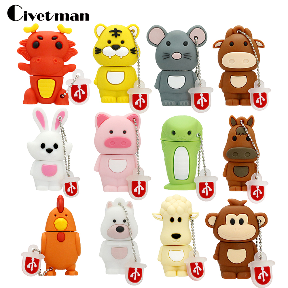 USB Flash Drive Chinese Zodiac Animal Snake Chicken Rabbit Cle Usb Tiger Monkey 4GB 8GB 16GB 32GB 64GB USB Memory Stick Pendrive