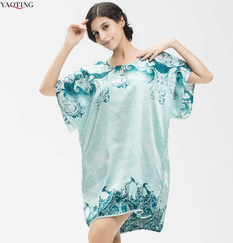 Plus size Women s Imitated silk home clothing blue and white porcelain printing loose sleepwear summer