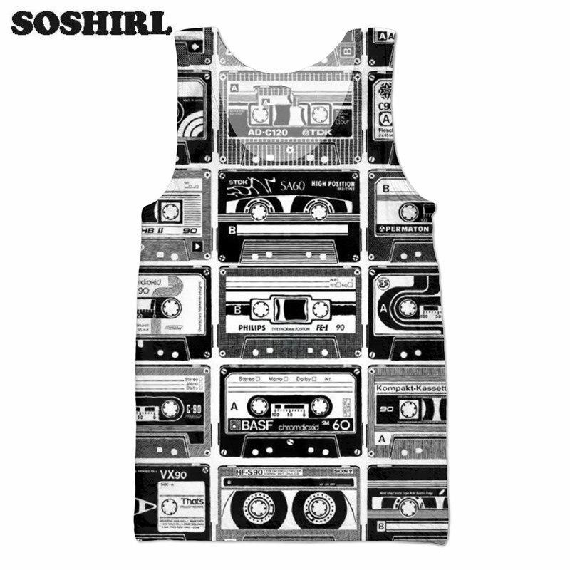 230ee14811dad SOSHIRL Punk Cassette Tape 3D All Over Print Tank Top Hipster Sleeveless T  Shirt Summer Street Wear Tee Men Women Cool Beachwear-in Tank Tops from  Women s ...