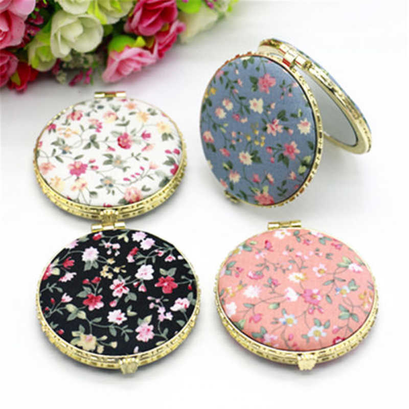 Handheld Mini Makeup Portable Retro Pocket Floral Mirror Fold Small Two-side Folding Vintage Cosmetic Mirrors Beauty Gift Women