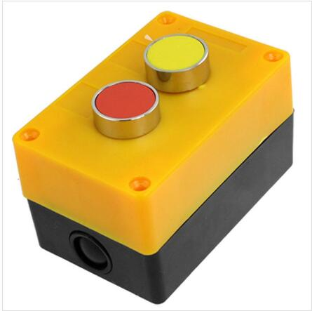 Yellow Red Momentary Push Button Switch Control Station Box 1 NO N/O 1 NC N/C