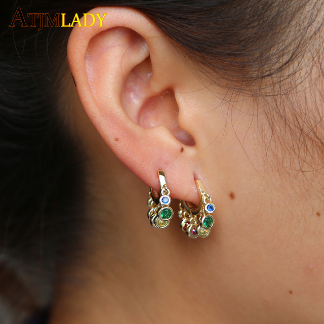Delicate Rainbow Drip Cz Paved Trendy Charming Earring Hoops For Women Girl  Jewelry Much Mini Round colours CZ Charm Earrings 1fd0549b7b1b