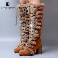 Prova Perfetto 2018 New Women Knee High Boots Female Rabbit Fur Winter Warm Snow Boot High