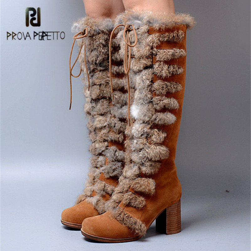 Prova Perfetto 2018 New Women Knee High Boots Female Rabbit Fur Winter Warm Snow Boot High Heel Platform Shoes Woman Botas Mujer prova perfetto winter women warm snow boots buckle straps genuine leather round toe low heel fur boots mid calf botas mujer