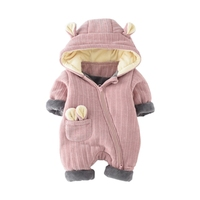 Winter Knitted Thicken Hooded Romper Warm Knitted Clothes Newborn Baby Boys Girls Jumpsuits Fleece Infant Cute
