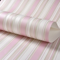 Children Room Non Woven Blue Vertical Striped Wallpaper Modern 3D Pink Stripes Girl Bedroom Wall Decoration