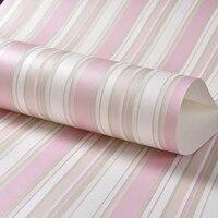 Children Room Non Woven Blue Vertical Striped Wallpaper Modern 3D Pink Stripes Girl Bedroom Wall Decoration